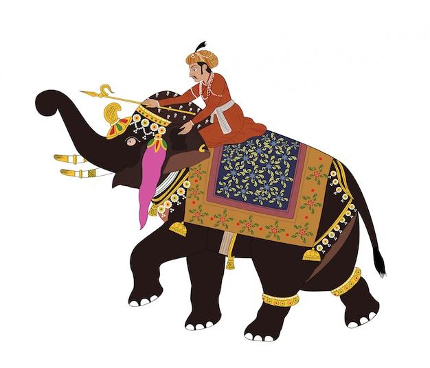 Векторная иллюстрация солдата верхом на слоне
