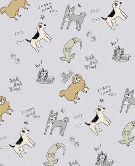 手描きのかわいい犬のパターンデザイン