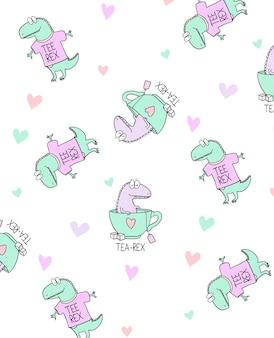 手描きのキュートな恐竜パターンデザイン