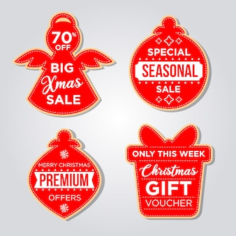Набор рождественских этикеток в стиле плоский дизайн