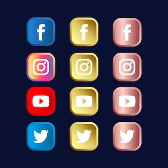 ゴールドとゴールドローズグラデーションのソーシャルメディアアイコンのセット