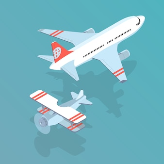 飛行機と複葉機