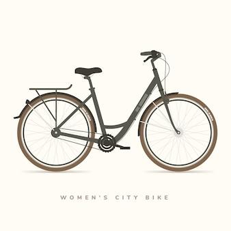 Женский городской велосипед черный, векторная иллюстрация