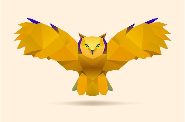 飛ぶフクロウ、ベクトルの多角形のイラスト