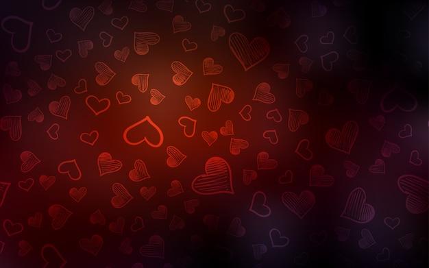 暗い赤のベクトルカバーと輝く心