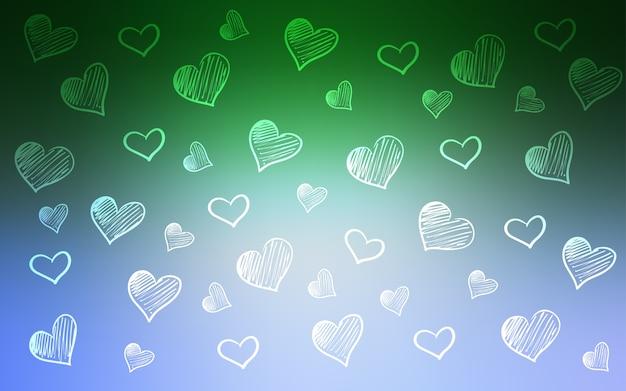 カラフルな心を持つ緑のベクトルパターン