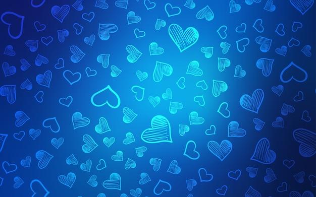 落書きの心を持つライトブルーのベクトルテンプレート