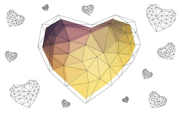 黄色のベクトルの心は白い背景に