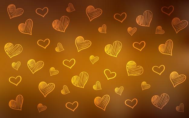 心と暗いオレンジのベクトルの背景