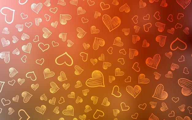 カラフルなハートを持つライトオレンジのベクトルパターン