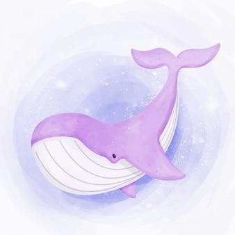 かわいいクジラが海で泳ぐ