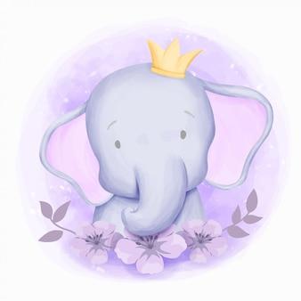 小さな象かわいい肖像画の水彩画