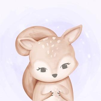 赤ちゃんかわいいリスの水彩画