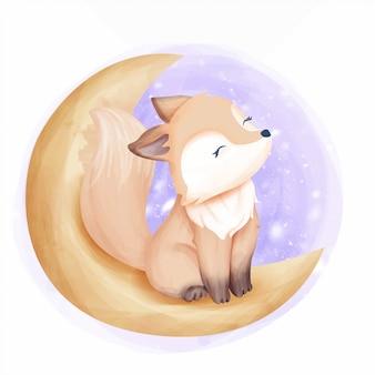 Красивая лиса на луне