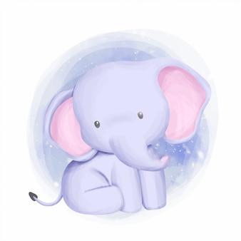 Слоненок очаровательны и любопытны