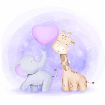 友情キリンと象の子供のイラスト