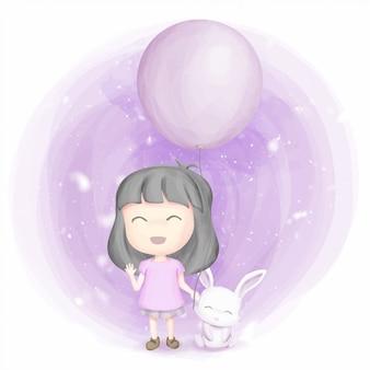 友情の少女とウサギの笑顔と幸せ