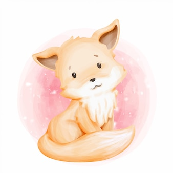 Симпатичные животные маленькая лиса акварель