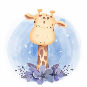 Милое животное улыбающееся лицо жирафа