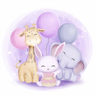 キリンのウサギと象が誕生日を祝う
