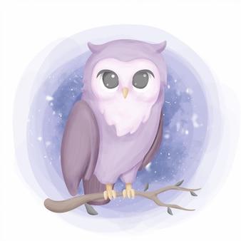 美フクロウ肖像画保育園スタイルの図