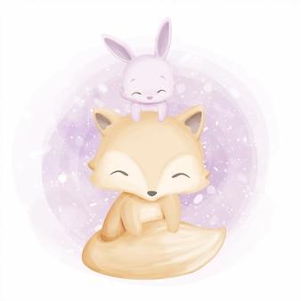 友情かわいいフォクシーとウサギ