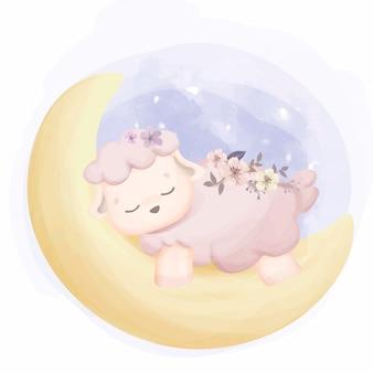 月に眠る赤ちゃん羊
