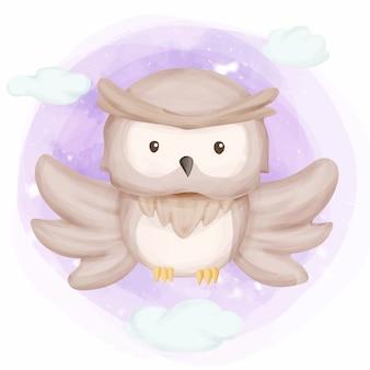 かわいい赤ちゃんフクロウが高く飛ぶ