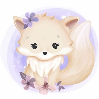 かわいい顔の黄色の赤ちゃんキツネ