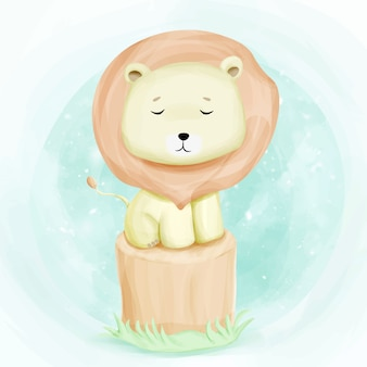 Малыш милый лев на дереве