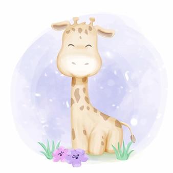 Очаровательный малыш жираф улыбающийся