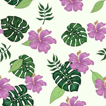 熱帯の花とモンステラのシームレスパターン