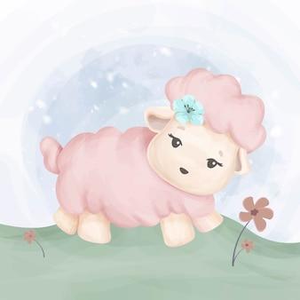 小さな動物の赤ちゃんの好奇心が強い羊