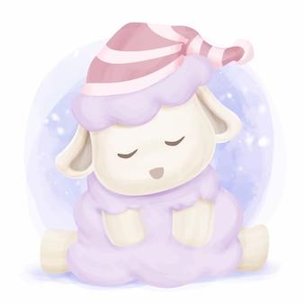 眠っている赤ちゃん羊