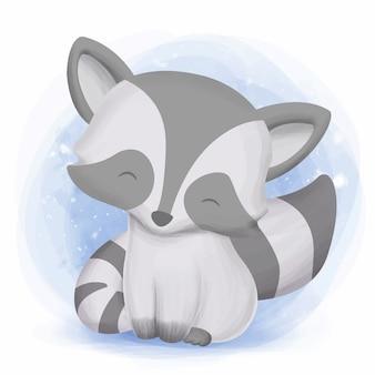 小さなかわいいアライグマに来て