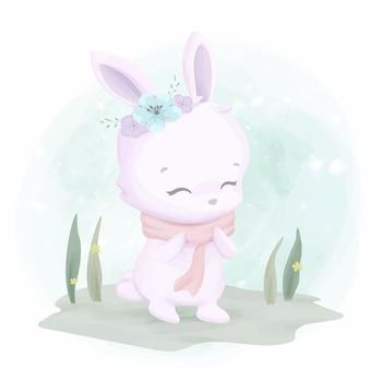スカーフを着ているかわいいウサギ
