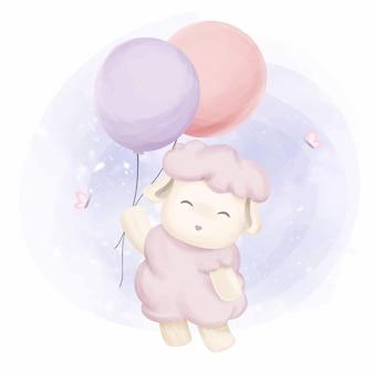 風船で飛んでいる小さな羊