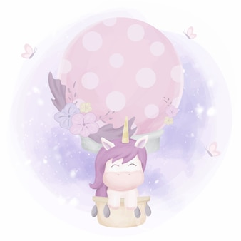 Единорог летит на воздушном шаре