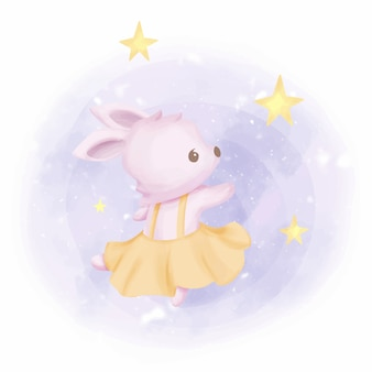 星と踊る赤ちゃんウサギ