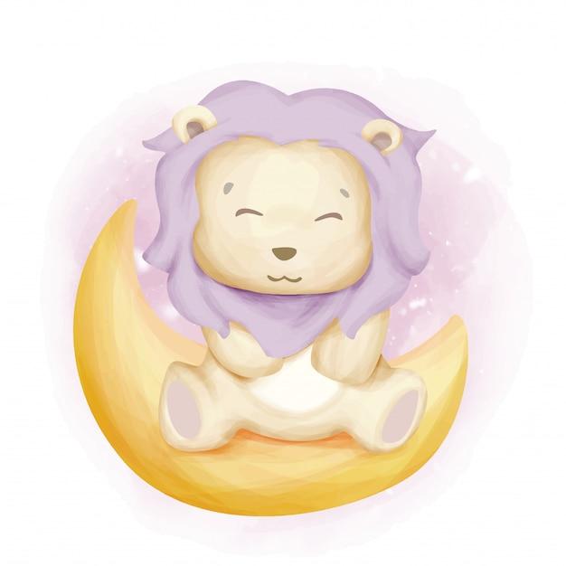 月の赤ちゃんライオン