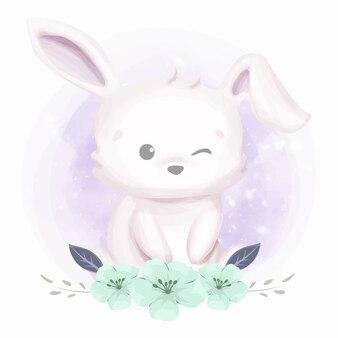 Кролик с красивыми цветами