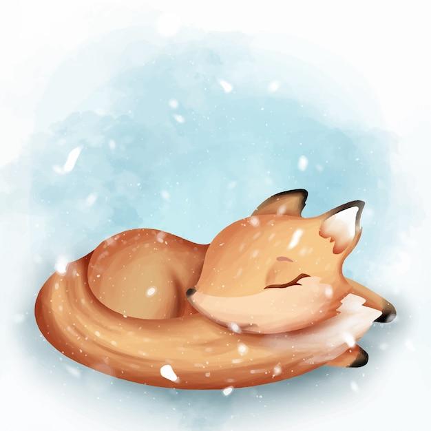 キツネの睡眠かわいい水彩画