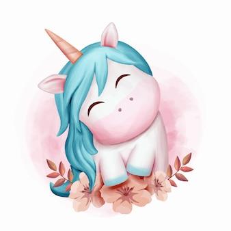 赤ちゃんユニコーン笑顔かわいい水彩画