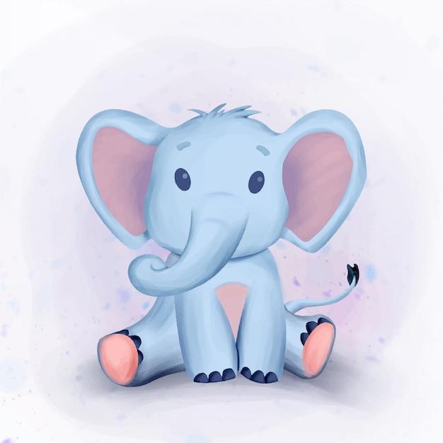 かわいい象のベビーシャワーの水彩イラスト