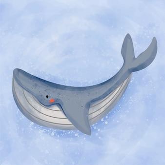 Кит плавать акварельные иллюстрации