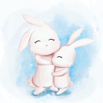 友情ウサギかわいい巨大な水彩画