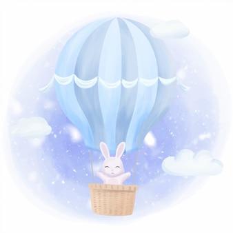 ウサギのウサギが気球で高く飛ぶ