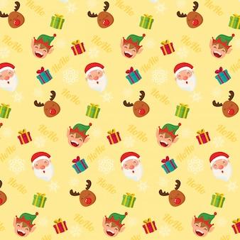 シームレスなクリスマスのパターン。サンタクローストナカイとエルフ
