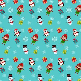 シームレスなクリスマスのパターン。男の子の雪だるまとペンギン