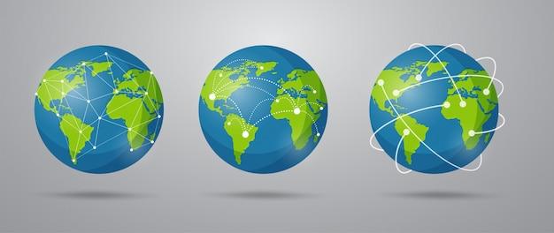 Глобальная сеть связи в мультяшном стиле.